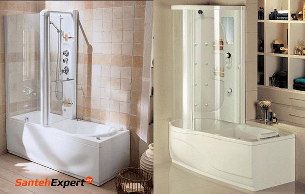 Ремонт маленькой ванной комнаты в Минске: ванна, умывальник, душевая кабина маленьких размеров