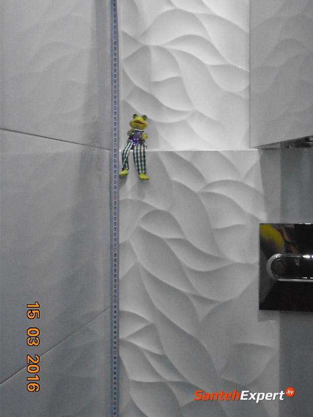 Ремонт ванной комнаты и санузла под ключ, ул. Жиновича, Минск. Облицовка стен и пола плиткой, разводка водопровода и канализации, чистовой монтаж сантехнической посуды.